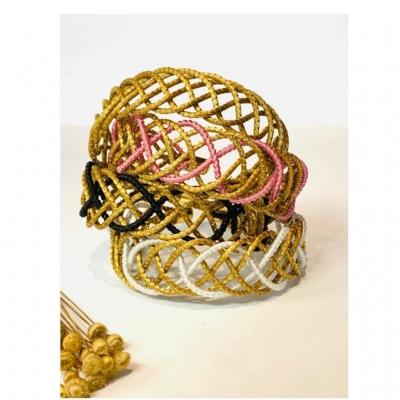 Naturally Gold Vegan Jewellery Plant Based Vegan Jewellery Handwoven Jewellery Colourful Golden Grass Bracelet
